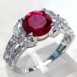LOVELY 2 CT RUBY ROUND CUT 925 STERLING SILVER RING SIZE 5-10 $14.99
