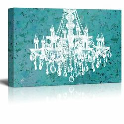 wall26 Canvas Crystal White Chandelier on Grunge Wall Background 24quot;x36quot; $44.34