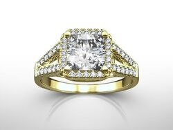 2.75 CTW PRINCESS  FVVS2DIAMOND SPLIT SHANK RING ENHANCED YELLOW GOLD 18K