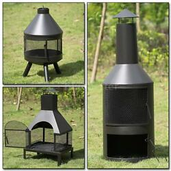 Outdoor Patio Fireplace Backyard Fire Pit Deck Wood Burning Heater Firepit F0G5