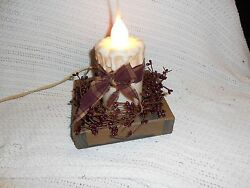 Primitive decor wooden crate country candle pip berries grungy bow newly created $22.50