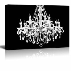 wall26 Canvas Crystal White Chandelier on Black Background 32quot;x48quot; $77.61