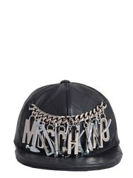 $825 MOSCHINO Couture Jeremy Scott Quilted Construction Tools LEATHER Hat Cap