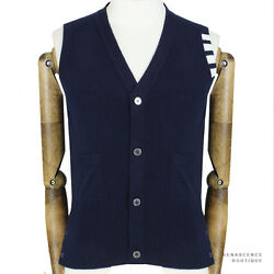 Thom Browne Dark Blue White Banding Pure Cashmere Knitwear Tank Cardigan 0 IT44