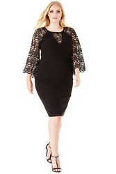 Goddiva Black Bell Sleeved Cocktail Plus Size Evening Party Dress GBP 69.99