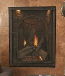 Forest Hills DV Fireplace Old World Stone Liner & Cathedral Front LP