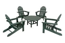POLYWOOD Classic Adirondack 5-Piece Conversation Group in Green