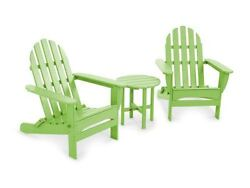 POLYWOOD Classic Folding Adirondack 3-Piece Set in Lime