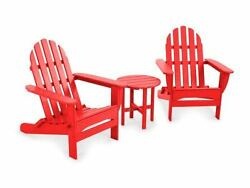 POLYWOOD Classic Folding Adirondack 3-Piece Set in Sunset Red