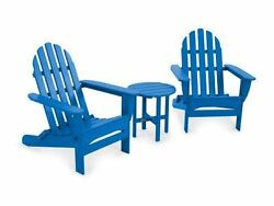 POLYWOOD Classic Folding Adirondack 3-Piece Set in Pacific Blue