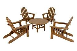 POLYWOOD Classic Adirondack 5-Piece Conversation Group in Teak