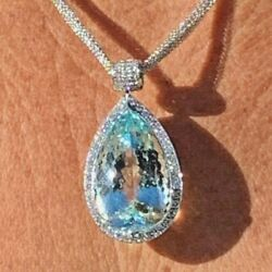 18K Solid White Gold 42.32 Ct Aquamarine Pear Pendant and 5.18 Ct G VS1 Diamond