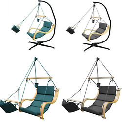 Hammock Swing Air Chair Padded Seat Hanging Lounge &Footrest Outdoor Patio Porch