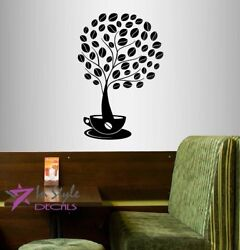 Vinyl Wall Decal Coffee Tree with Beans in Cup Kitchen Coffee Shop Café 381 $27.99