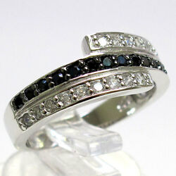FANCY BLACK WHITE MICRO PAVE 925 STERLING SILVER RING SIZE 5-10