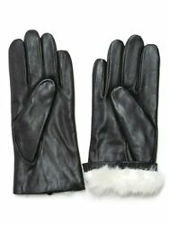 Fownes Womens Rabbit Fur Lined Black Napa Leather Gloves 7M