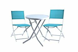 DOMI Garden Bistro Folding Table & 2 Chair Set Outdoor living Furniture-ALFTC02