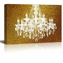 wall26 Canvas Crystal Chandelier on Glittering Golden Background 32quot;x48quot; $77.61