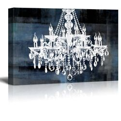 Canvas Crystal White Chandelier on Blue Abstract Vintage Background 24quot;x36quot; $44.34