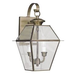 Livex Md Colonial Outdoor Wall Lamp Lighting Fixture Solid Antique Brass