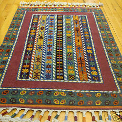 Happy Authentic Natural Dyes 2'2''x3'3'' Shawl Pattterned Wool Pile Rug