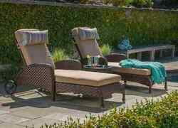 3 Pc Resort Chaise Lounge Chair Pool Lounger Set Patio Furniture All Weather NEW