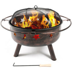 Fireplace Backyard Wood Burning Heat Steel Bowl Star Moon Glow Fire Pit Outdoor