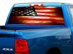 P470 Distressed American Rear Window Tint Graphic Decal Wrap Back Truck Tailgate