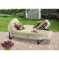 Outdoor Chaise Lounger Lounge Couch Chair Seat Patio Garden Furniture Tan Seats