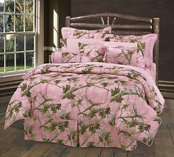 HiEnd Accents Oak Camo Comforter Set King Pink New