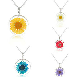 Transparent Resin Dried Daisy Flower Pendant Necklace Ball Chain Fashion Jewelry