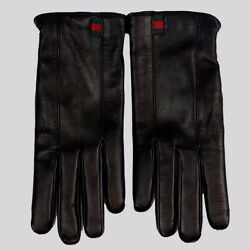 BNWT Beautiful Designer GUCCI Mens Black Leather Cashmere Lined Gloves  9  ITALY