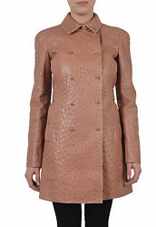Gucci Women's Ostrich Skin Leather Double Breasted Coat US 4 IT 40