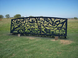 Handmade Custom Entrance Gate    steel fence ranch home metal art wrought iron