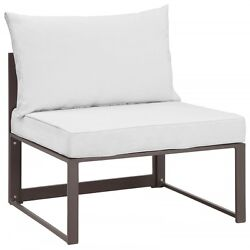 Modway EEI-1728-BRN-WHI-SET Fortuna 8 Piece Outdoor Patio Sectional Sofa Set In