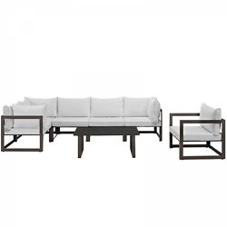 Modway EEI-1733-BRN-WHI-SET Fortuna 7 Piece Outdoor Patio Sectional Sofa Set In