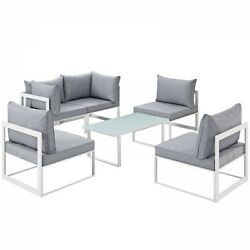 Modway EEI-1726-WHI-GRY-SET Fortuna 6 Piece Outdoor Patio Sectional Sofa Set In