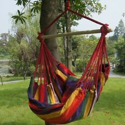 Hanging Hammock Chair Outdoor Lounge Seat Swing Padded Tropical Stripe Red