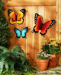 BUTTERFLIES Set of 3 Metal Wall Decor Outdoor Fence Shed Garage Tree Spring New