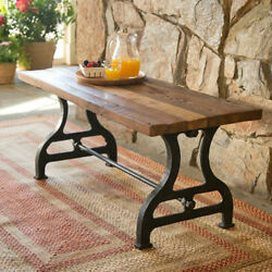 Reclaimed Wood And Iron Bench Handmade Outdoors Trestle Style Frame Garden