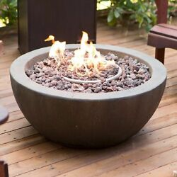 Outdoor Fire Pit Propane Gas Backyard Patio Deck Stone Fireplace With Cover