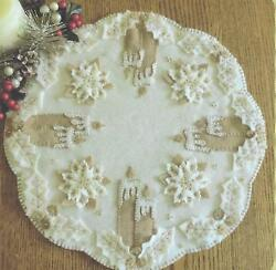 White Christmas felted wool applique penny rug candle mat quilt pattern