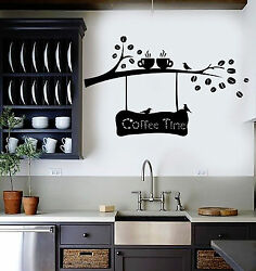 Vinyl Wall Decal Coffee Beans Branch Cup Birds Kitchen Decor Stickers ig4158 $29.99