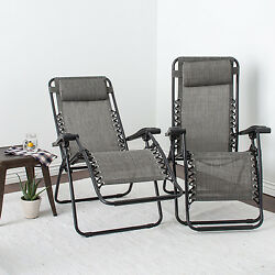 Lounger Chair Set 2 Pool Patio Bed Camping Adjusts Lightweight Steel Frame Gray