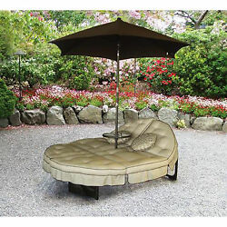 Chaise Lounge Chair With Umbrella Garden Outdoor Patio Furniture Double Modern
