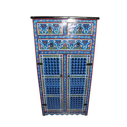 Blue Moroccan Cabinet Handmade Armoire