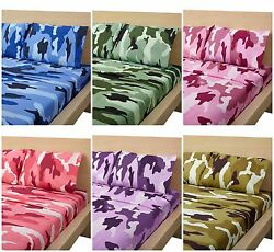 Camouflage Collection 4 Piece Bed Sheet Set Luxurious Microfiber Many Size Color