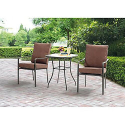 3 Piece Bistro Patio Set Table And Chairs Outdoor Furniture Metal Yard Lawn Pool