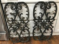 Vtg Wrought Iron Fence Gate Ornate Architectural Salvage Garden Bench 28