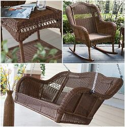 Brown 3 Piece Resin Wicker Swing Rocking Chair Table Outdoor Patio Furniture